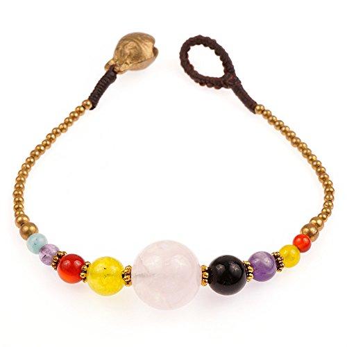 Chuvora Brass and Genuine Multi-Colored Gemstone Spheres Beaded ()