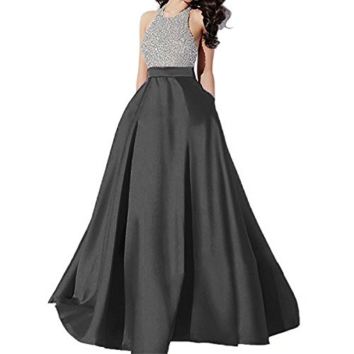 Danadress Women's Sparkly Halter Backless Sequins Prom Dresses Long Ball Gowns Formal with Pockets