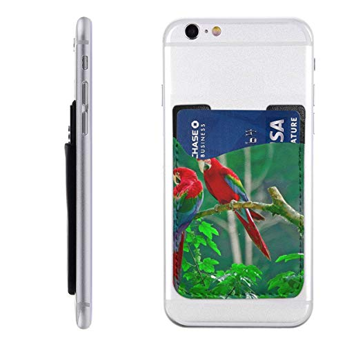 - Card Holder for Back of Phone -Parrots Paradise Birds Animals Silicone Stick On Cell Phone Wallet with Pocket for Credit Card, ID, Business Card