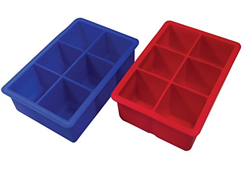 Better Kitchen Products 2 Piece 6 Cavity Premium Silicone Large Ice Cube Tray Molds