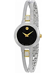 Movado Amorosa Black Dial Ladies Bangle Watch 0607185