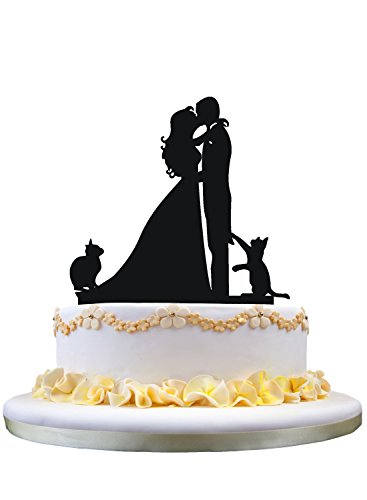 Wedding cake topper with two cats pet silhouette