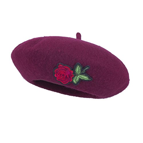 AWAYTR Girls Children Wool French Beret - Rose Applique Classic Berets (Wine Red)