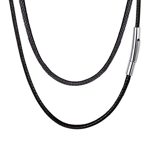 - FOCALOOK Black Braided Leather Cord Necklace with Stainless Steel Durable Snap Clasp, Men Women Waterproof Hypoallergenic DIY Woven Wax Rope Chain for Pendant, 2mm 20 Inch