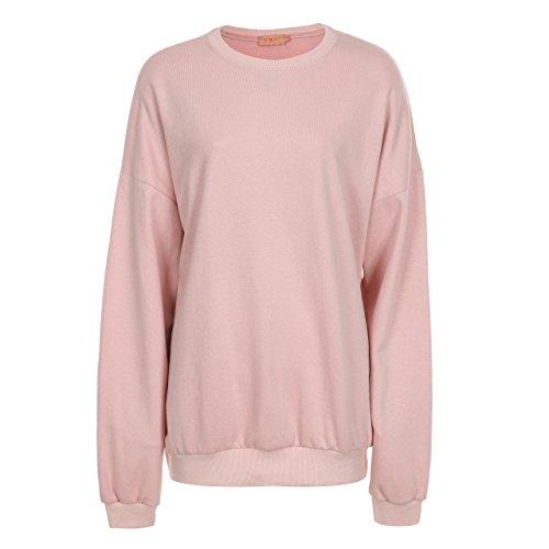 T.B.T. Women's Super Boxy Loose Fit Sweatshirts (B72H05-PINK-S) (Womens Sweatshirt Pink)