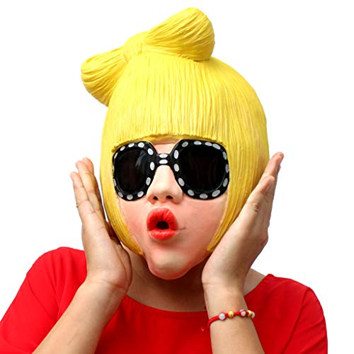 TINGSHOP Celebrity Mask, Lady Gaga Funny Halloween Party Costume Cosplay Prop Cosplay Deluxe Novelty Halloween Costume Party Latex Christmas Carnival]()