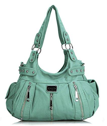 Scarleton 3 Front Zipper Washed Shoulder Bag H129253 - Mint (Skull Purse)