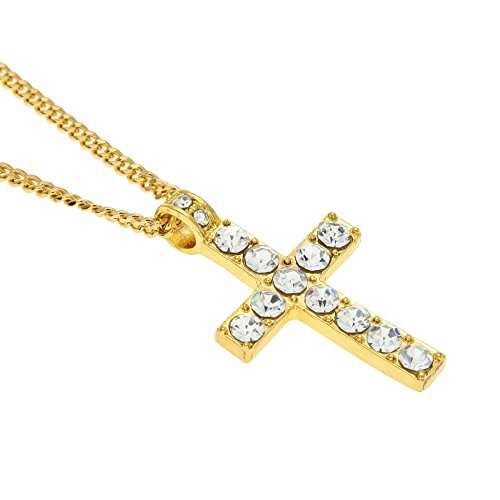 AOVR Hot Hip Hop CUBAN LINK Chain 14k Gold Silver Plated CZ CRYSTAL Fully Iced-Out Cross Pendant (Crystal Cross Pendant)