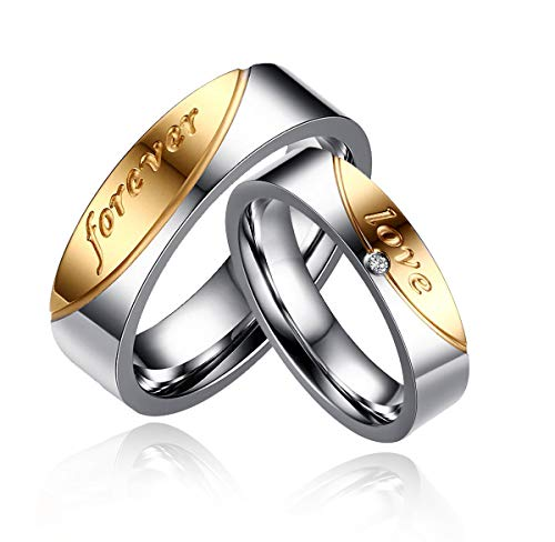 (Uloveido Titanium His and Hers Engagement Wedding Bands Ring Set for Him and Her A Pair of Charm Love Forever Anniversary Rings Set for Men Women with Black Gift Bag CR058-Men9Women7)