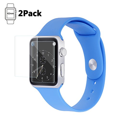 Apple Watch 42mm Screen Protector (Series 1 / Series 2/ Series 3), Atilll Tempered Glass Screen Protector [Scratch Resistant] [Anti-Bubble] for Apple Watch [2 Pack]