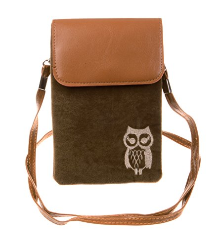KISS GOLD(TM) Owl Print Vertical Mini Cotton Cellphone Pouch