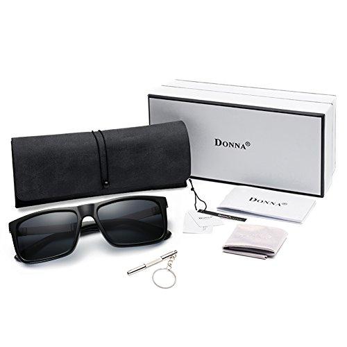 261faa95259 DONNA Trendy Oversized Square Aviator Polarizd Sunglasses Wayfarer Style  with Big Unbreakable Frame and Anti-