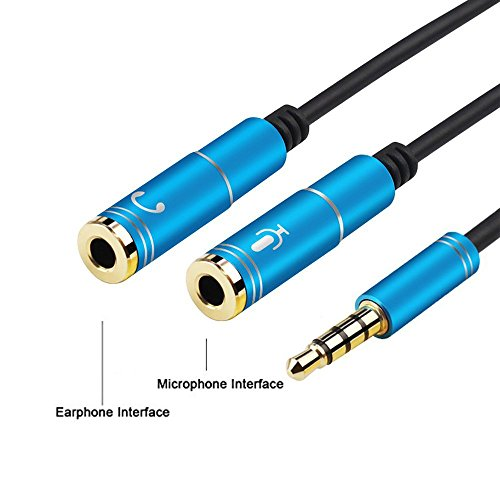 Conshine Headset Adapter for CTIA Headsets With Separate Headphone And Microphone Plugs, 3.5mm Stereo Audio Male to 2 Female Headset Mic Y Splitter Cable Adapter -Blue
