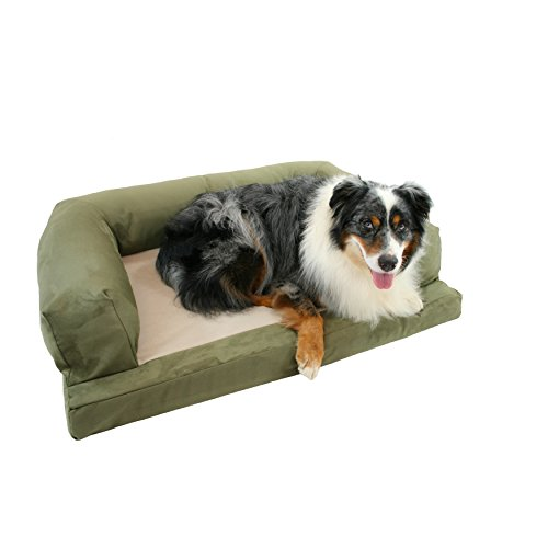 Small Green Plush Solid Pattern Dog Bed, Beautiful Modern Orthopedic Comfort Design Pet Lounge, Features Super Soft & Snuggly, Stain Resistant, Hypo-Loft Fiber Filling, Fleece, Suede (Super Orthopedic Lounge)