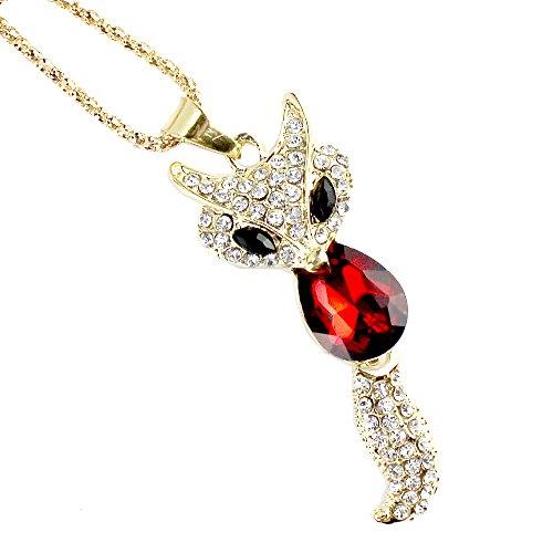 Easykan Women's Alloy Chain Crystal Stone Fox Pendant Sweater Necklace (Purple) 30