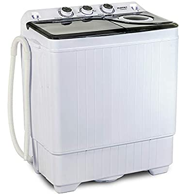 KUPPET Compact Twin Tub Portable Mini Washing Machine 26lbs Capacity, Washer(18lbs)&Spiner(8lbs)/Built-in Drain Pump/Semi-Automatic