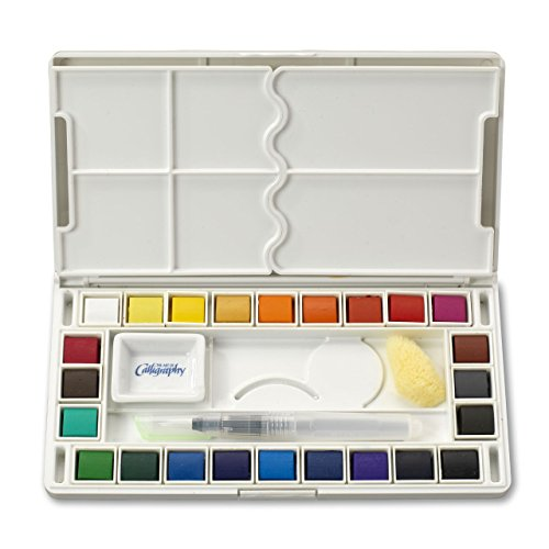 Jerry Q Art 24 Assorted Water Colors Travel Pocket Set- Free Refillable Water Brush With Sponge - Easy to Blend Colors - Built in Palette - Perfect For Painting On -