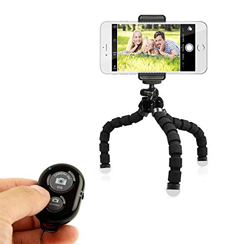 Phone Tripod Portable and Adjustable Camera Stand Holder Mini Tripod Stand Holder with Wireless Remote and Universal…