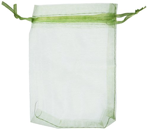 Bluecell Pack of 50 Light Green Color Organza Drawstring Gift Bag Pouch Wrap for Party/Game/Wedding (4.5x3.5