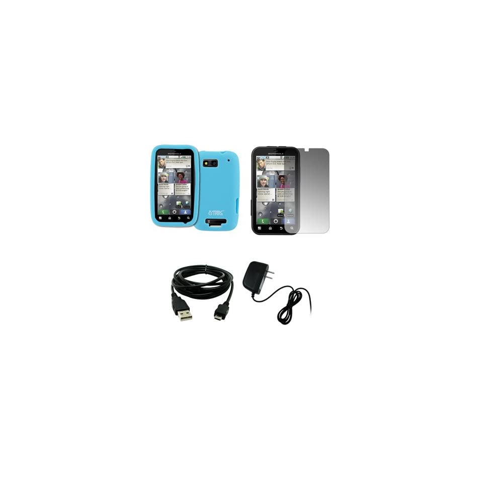 EMPIRE Light Blue Silicone Skin Case Cover + Screen Protector + Home Wall Charger + USB Data Cable for T Mobile Motorola Defy MB525