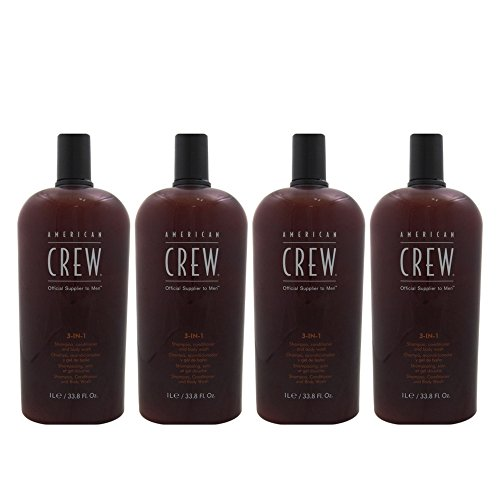 American Crew Men Classic 3 in 1 Shampoo/Conditioner/Body Wash, 33.8 Ounce (4 Pack) by AMERICAN CREW 3 in 1