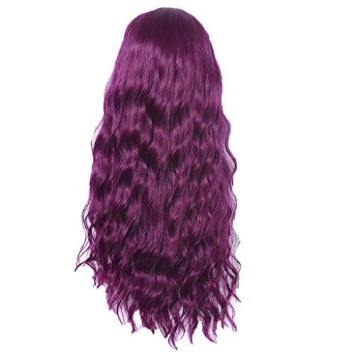 Iusun Curly Wigs,26'' Purple Women's Long Wavy Rose Inner Net Resistant Synthetic Extensions Cosplay Costume Daily Party Anime Hair Full Wig High Temperature Fiber (Purple) ()
