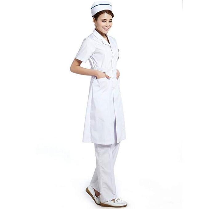 ESENHUANG Doctor Enfermera Uniforme Hospital Batas Médicas Ropa De Trabajo Ropa Mujeres Quirúrgica Abrigo Largo Damas Chaquetas Médicas Sólidas: Amazon.es: ...