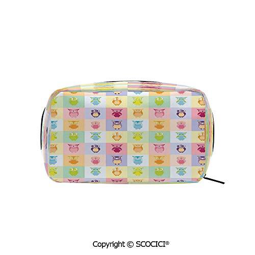 Rectangle Portable makeup organizer Cosmetic Bags Cartoon Cute Owls Multicolor Fun Animal Love Childrens Art Nursery Play Birds Printed Storage Bags for Women Girls]()