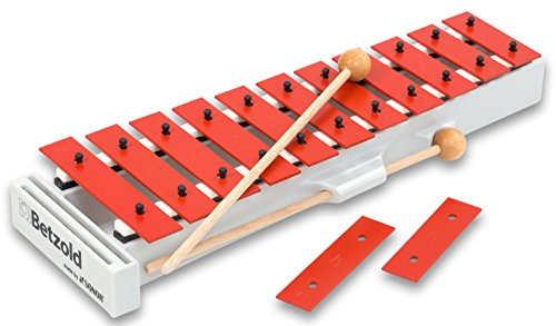 Sonor Schüler-Glockenspiel A, Xylophon, C-Dur c3- f4 mit fis3 und b3, inkl. 2 Holzschlägel, mit 13 speziallegierten, rot beschichteten Stahlstäben