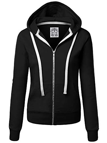 Lock and Love WSK954 Womens Active Fleece Zip Up Hoodie Sweater Jacket XL Black