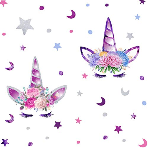 ARTTOP Cute Unicorn Wall Decal Colorful Stars Wall Stickers Removable Moon and Dots Room Decor Flower Decoration Wall Sticker for Girls Bedroom Fairytale Wall Art Home Decor (Decoraciones De Cuartos)
