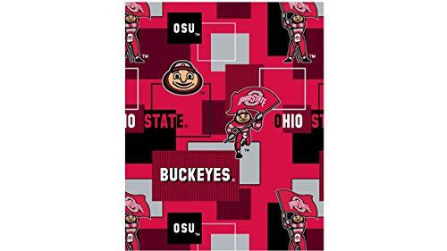 (OHIO STATE BUCKEYES FLEECE FABRIC-OHIO STATE FLEECE BLANKET FABRIC)