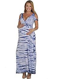 Empire Waist V-Neck Peak-a-boo Shoulder Tie Dye Summer Bohemian Maternity Maxi