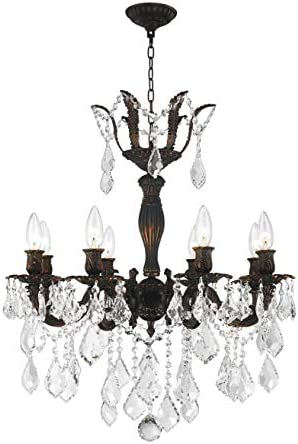 Worldwide Lighting Versailles Collection 8 Light Flemish Brass Finish and Clear Crystal Chandelier 23 D x 26 H Large
