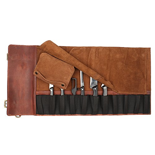 Genuine Leather Chef Knife Roll - All Purpose Chef Roll Up Kit - Portable Kitchen Knives Protector by Rustic Town (Image #6)