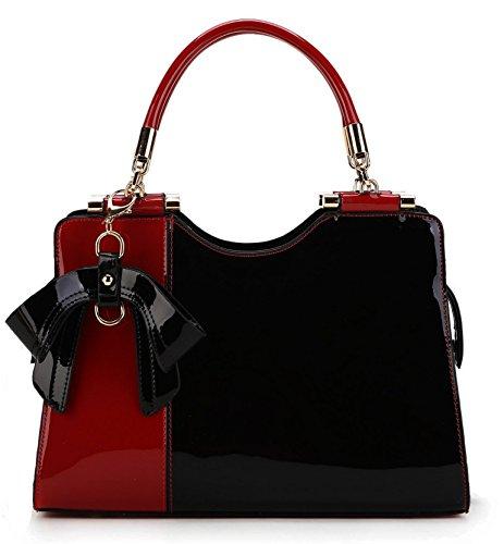 Scarleton Elegant Two Tone Satchel H14231001 - Red/Black (Elegant Purse)