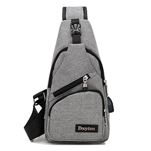 Mysky USB Outdoor Sports Casual Canvas Unbalance Backpack Crossbody Sling Shoulder Bag (Gray) from My*sky Bags