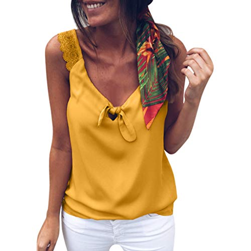 Fitfulvan Womens tops Floral Lace up Casual Bow Tie Sexy V-Neck Summer Sleeveless Top Tank Camis Everyday Wild Blouse Yellow