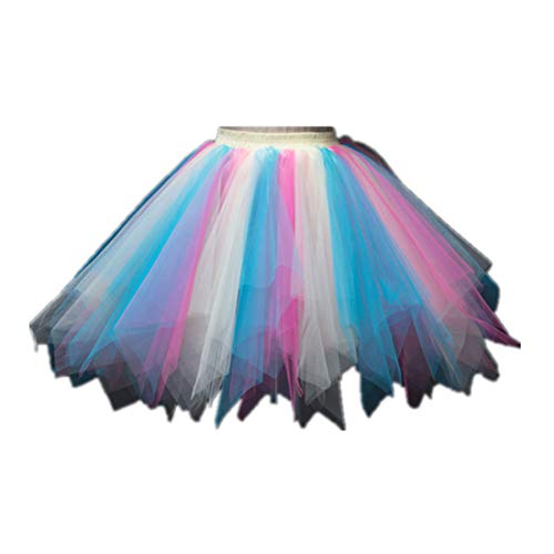 MizHome Womens Yellow Blue Pink Tutu Skirt Layered Tulle Skirt Adult Halloween Costumes -