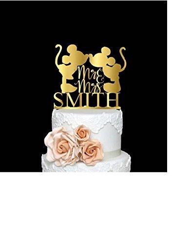 Amazon.com: Mickey and Minnie Wedding Cake Topper Bride & Groom ...