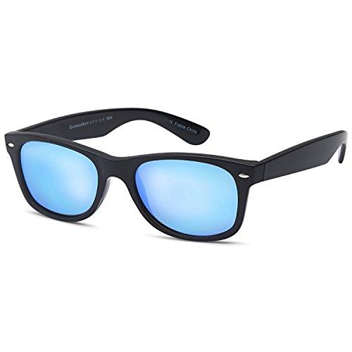 GAMMA RAY Polarized UV400 Sunglasses Large - Mirror Blue Lens on Black Frame (Sunglasses Wayfarer Plastic)