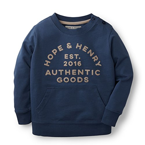 Hope & Henry Boys Blue Light Weight French Terry Sweatshirt Made With Organic (Play Organic Cotton Terry)