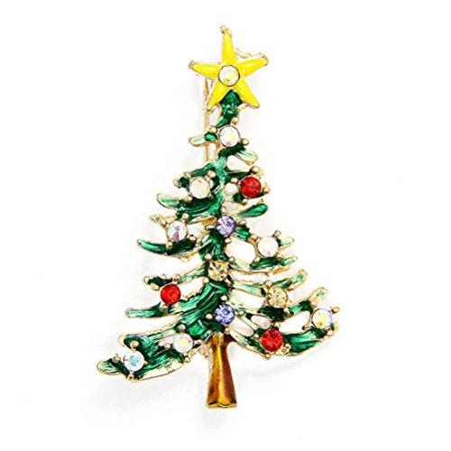 Susenstone Christmas Cute Tree Brooch Pins ,Crystal Rhinestone Christmas Gift