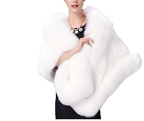 Winter Bridal Wedding Coat White Cape Jacket Shawl Wraps for Women's Evening Party