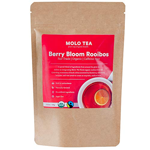 Organic Rooibos Red Tea: Berry Bloom is a loose-leaf African tea that is 100% caffeine free, certified organic, great tasting, sugar free, rich in antioxidants. This herbal tea has detox properties.
