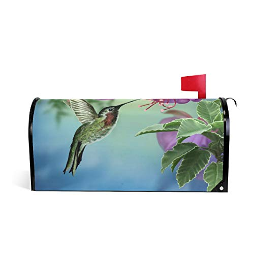 WXLIFE Magnetic Mailbox Cover Floral Flower Bird Hummingbird Mailbox Wrap Letter Post Box Cover Decor, Standard Size 20.8x18 ()