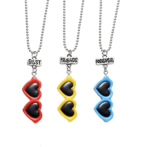 3 Packs Best Friends Forever Kids Children Resin Pendant Necklace (Heart (Glass 3 Hearts Necklace)