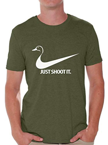 Awkwardstyles Just Shoot It T-Shirt Cool Custom Tee Deer Duck Hunting Shirt M Military Green