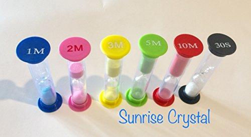 Sand Timer - Multicolor Sandglass Hourglass Sand Clock Timer 30sec / 1min / 2mins / 3mins / 5mins / 10mins (6pcs) By Sunrise Crystal (1 Clock 30)