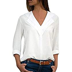 Answerl Women S Shirt Business Light Mature Casual Flip Collar Long Sleeve Solid T Shirt Tee Tops Blouse White